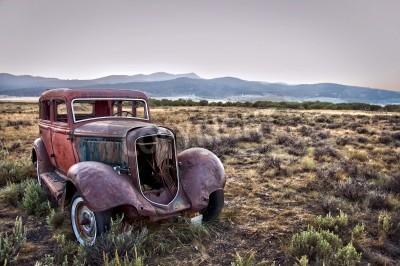 Cuadro Rusty coche destrozado, abandonado en la naturaleza