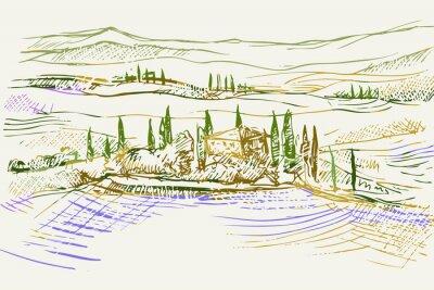 Cuadro Rysynek ręcznie rysowany. Toskański pejzaż z okolic Sieny we Włoszech w Europie