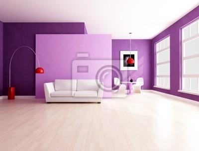 Cuadro: Sala de estar minimalista púrpura con espacio de comedor
