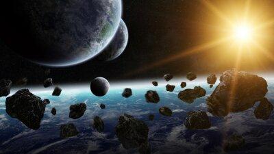 Cuadro Salida del sol sobre el grupo de planetas en el espacio