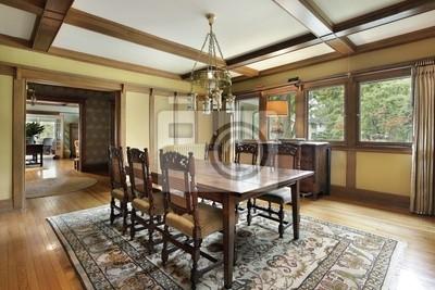 Salón comedor con techos de vigas de madera pinturas para la ...