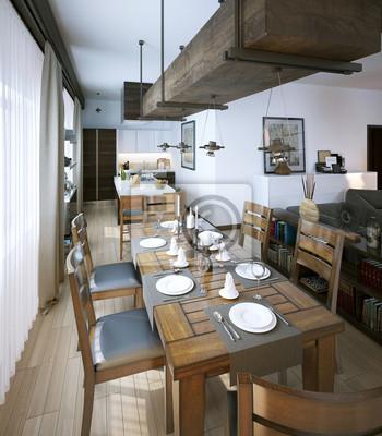 Cuadro: Salón comedor, de estilo rústico y moderno
