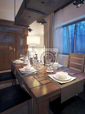 Salón comedor, de estilo rústico y moderno pinturas para la pared ...