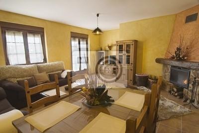 Salón comedor de una casa con chimenea rural. pinturas para ...