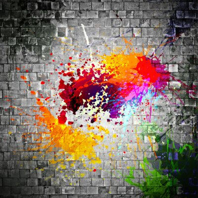 Cuadro salpicaduras de tinta en la pared de piedra