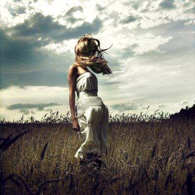 Cuadro Salte a las mujeres en campo de trigo
