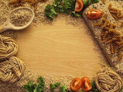 Cuadro Salud Alimentos de fondo, arroz, pasta, ensalada y verduras.