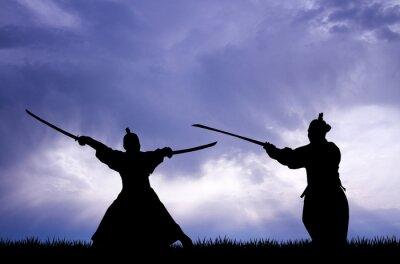 Cuadro Samurai silueta