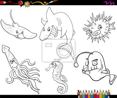 Sea life cartoon coloring page pinturas para la pared • cuadros fugu ...