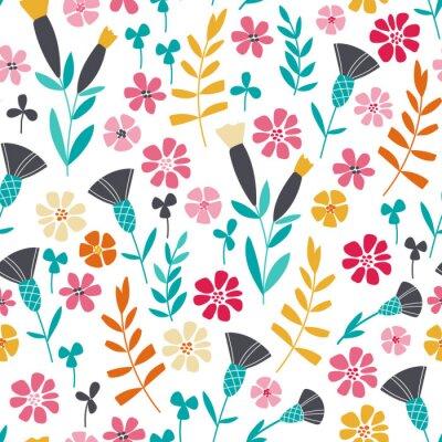 Cuadro Seamless brillante patrón floral escandinavo