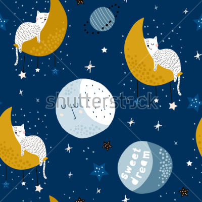 Cuadro Seamless childish pattern with cats on moons and starry sky. Creative kids texture for fabric, wrapping, textile, wallpaper, apparel. Vector illustration
