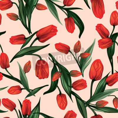 Cuadro Seamless floral pattern with of red tulips