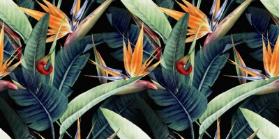Cuadro Seamless floral pattern with tropical leaves and strelitzia on red background. Template design for textiles, interior, clothes, wallpaper. Watercolor illustration