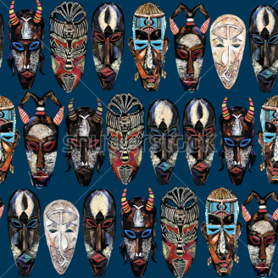 Cuadro seamless pattern with african mask. hand drawn ethnic tribal totem background