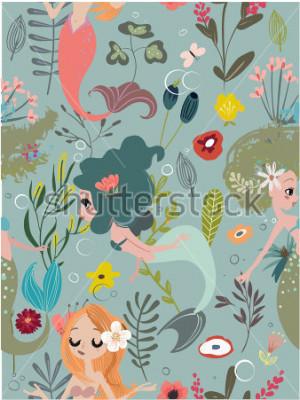Cuadro Seamless pattern with cartoon mermaids and flowers