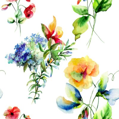 Cuadro Seamless pattern with Decorative summer flowers