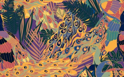 Cuadro Seamless pattern with large blue-green peacock tails and leaves of tropical palm trees.