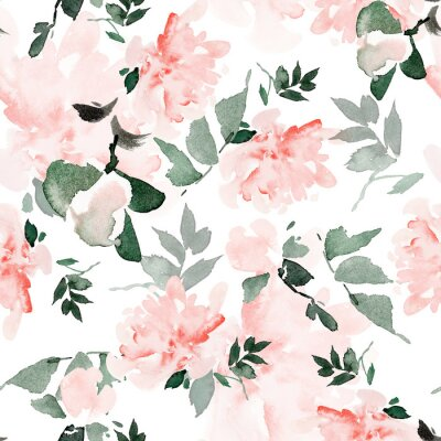 Cuadro Seamless summer pattern with watercolor flowers handmade.