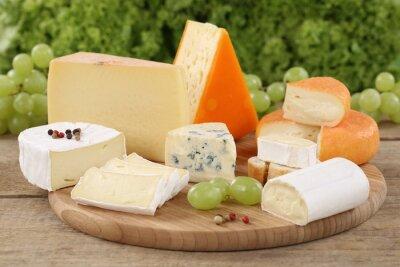 Cuadro Selección de quesos como el Camembert, queso de montaña y queso suizo