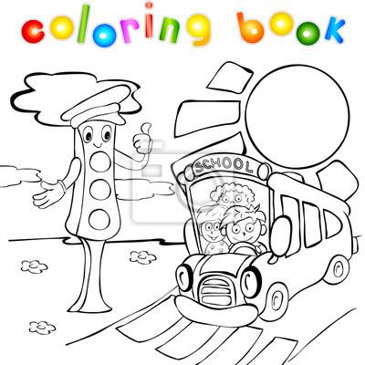 Semáforos con el autobús escolar. libro para colorear pinturas para ...