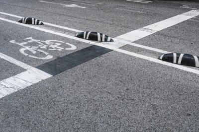 Cuadro Señalización de carril de bicicletas en la ciudad