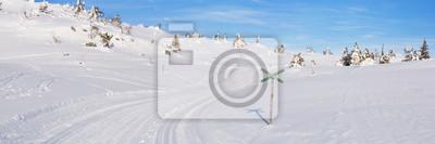Sendero de fondo a través de un paisaje nevado en Trysil, Noruega