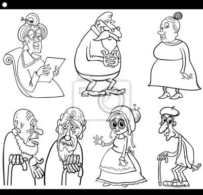 Seniors Establecen Libro Para Colorear Dibujos Animados Pinturas