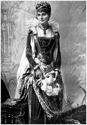 Cuadro Señora aristocrática (siglo 19) con Wears siglo 16