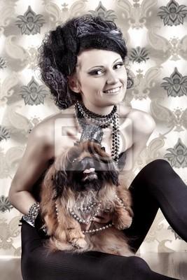 señora con su perro
