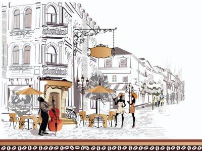 Cuadro Serie de vistas a la calle con la gente en la ciudad vieja