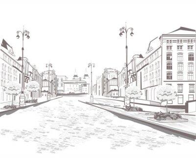 Cuadro Serie de vistas a la calle en la ciudad vieja, boceto