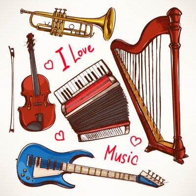 Cuadro Set con instrumentos musicales hechos a mano