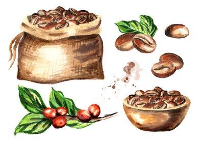 Cuadro Set de granos de café. Ilustración de dibujado a mano acuarela aislada sobre fondo blanco