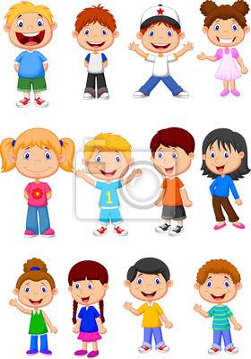 Set Los Niños Colección De Dibujos Animados Pinturas Para La Pared