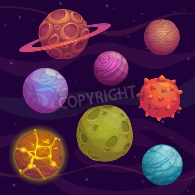 Cuadro Set of cartoon fantastic planet on space background
