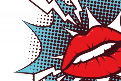 Cuadro sexy woman mouth with splash expression pop art style