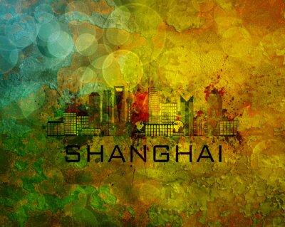 Cuadro Shanghai horizonte de la ciudad en la ilustración de fondo de grunge