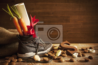 Shoe with carrots, for traditional Dutch holiday 'Sinterklaas'