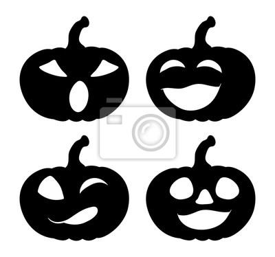 Silueta de sonrisa de calabaza set diseño de icono de símbolo ...