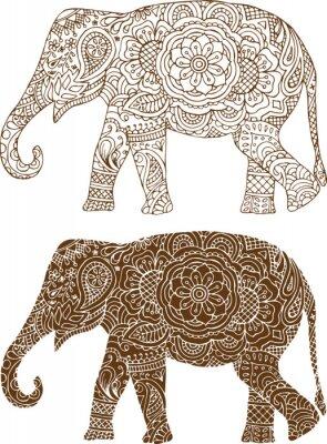 Cuadro silueta de un elefante en los patrones mehendi indios