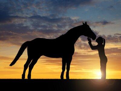 Cuadro Silueta de una muchacha que da un caballo beso en la puesta de sol