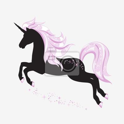 Silueta de unicornio mágico. su cuerpo es un color negro y su ...