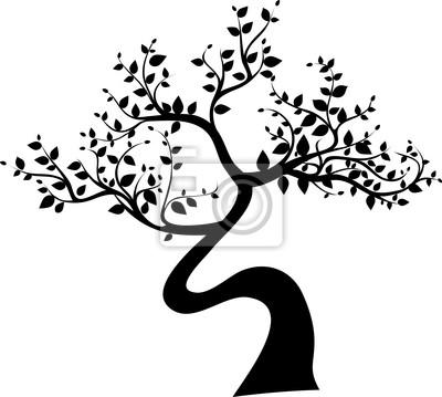 Silueta Del árbol Negro Sobre Fondo Blanco Pinturas Para La Pared