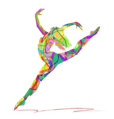 Cuadro silueta di bailarina composta da colori