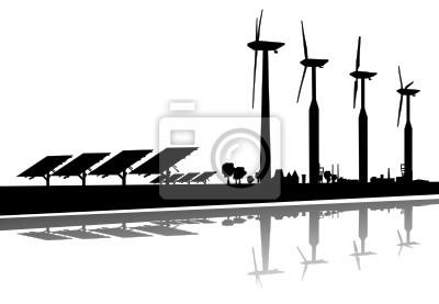 Silueta erneuerbare Energie viento Sonne