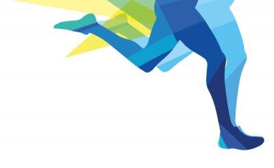 Cuadro Silueta, hombre, funcionamiento, piernas, transparente, superposición, colores