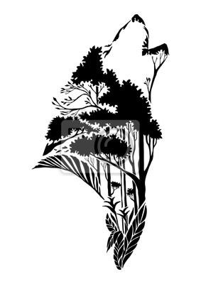 Silueta Negra Cabeza De Lobo Aullando Tatuaje Tribal Con Elemento