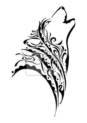 Silueta Negra Cabeza De Lobo Aullando Tribal Tatuaje Con El Elemento