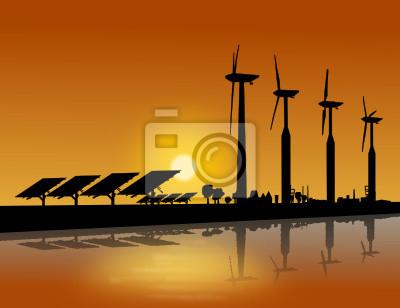 Silueta Windrad und Solarmodule Sonnenuntergang
