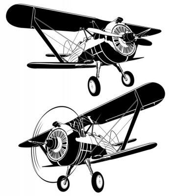 Cuadro Siluetas de biplano retro conjunto. Formato vectorial EPS-8 disponible separado por grupos y capas para facilitar la edición
